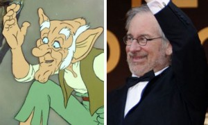 Composite of director Steven Spielberg (right) and the BFG