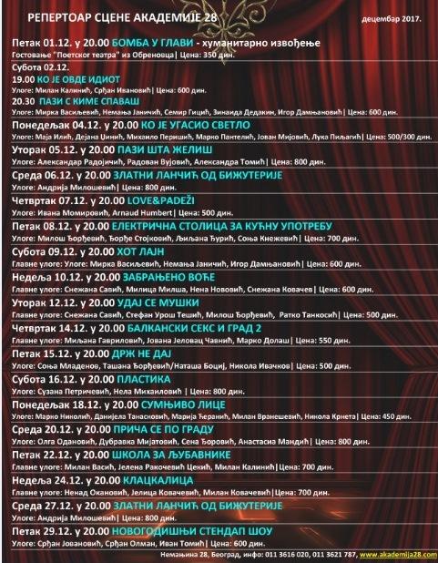 Akademija 28 repertoar decembar 2017