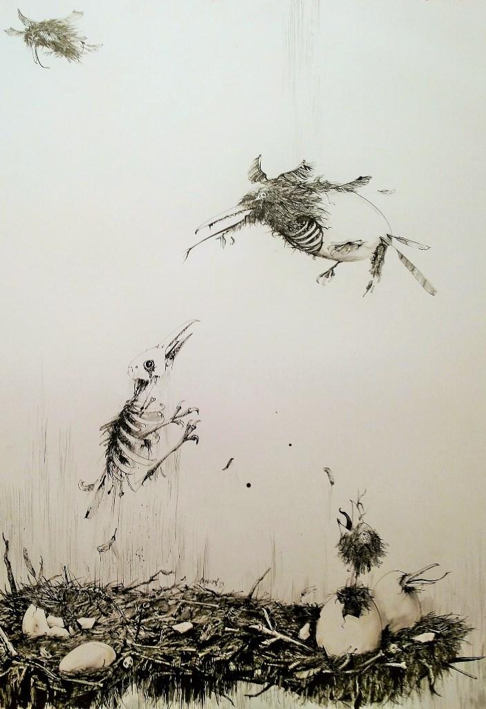 Nemanja Okiljevic Gnezda, crtež 100x70 cm, tuš na papiru 2013. privatna kolekcija