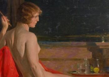 Paja Jovanovic, Akt na crvenom ogrtacu, 1918-1920, Muzej grada Beograda