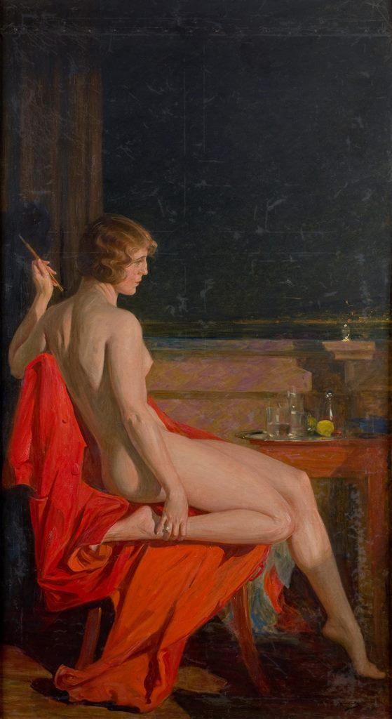 Paja Jovanovic, Akt na crvenom ogrtacu, 1918-1920, Muzej grada Beograda - Copy