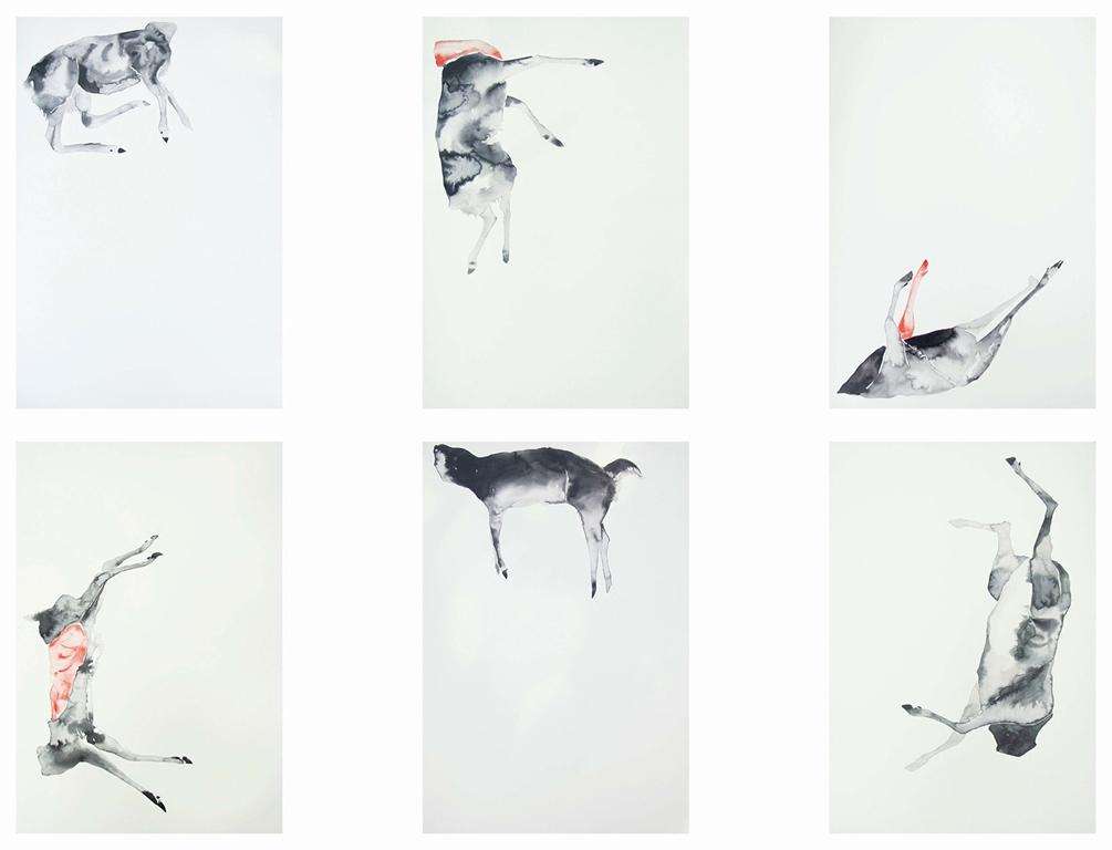 Nemanja Milenkovic - Vrzino kolo, poliptih iz serije Nepoznati, tuš i akvarel na papiru, 6x 59,4x42 cm, 2017