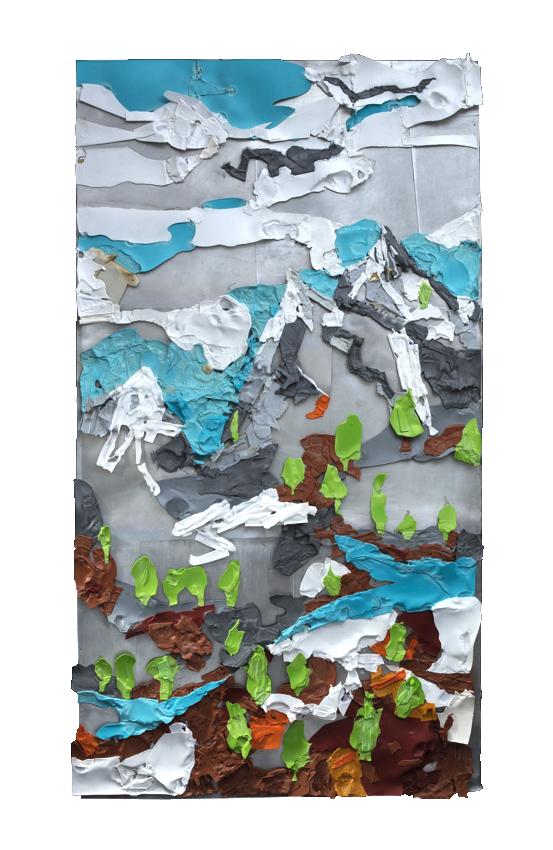 ,,Plastične kulise'' 212x115cm topljena plastika na aluminijumu, Nikola Kosic